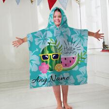 Kids Personalised Hooded Towel Hello Summer Blue Childrens Bathrobe Swim Bath