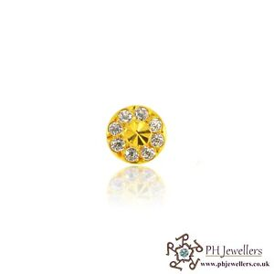 22ct 916 Yellow Gold Round Screw Nose Stud CZ NSS8