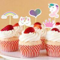 Cute Unicorn Rainbow Cupcake Topper Birthday Party Cake Baby Shower Decoration