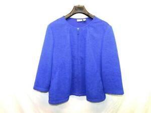 Chico's Size 3 XL Royal Blue Shirt Jacket Full Zip Textured Stretch Knit Pockets