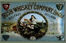 IRISH WHISKEY COMPANY Vintage Metal Pub Sign | 3D Embossed Steel | Home Bar