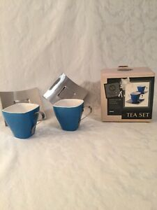 Tea Set Tempo Square Cup & Saucer Set of 2 Blue New in Box