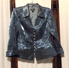 Women's Dressbarn Collection Blue Metallic Gem Button Blouse Sz 8 Euc