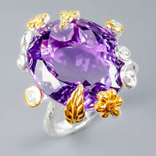 Vintage25ct+ Natural Amethyst 925 Sterling Silver Ring Size 8/R121604