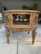 1967 Mcm 32� Round Baroque Coffee Table 4 Door Marbled Glass Top Carved Accents