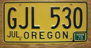 SINGLE OREGON LICENSE PLATE - 1978 - GJL 530