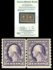 Scott 394 1910 3c Washington Coil Issue Mint Line Pair VF OG HR with APS CERT!