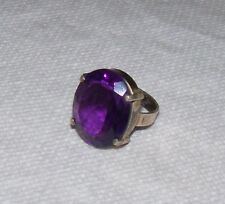 BIG bold Sterling Silver Purple faceted Amethyst Glass Cocktail Ring size 9