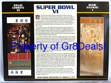 SUPER BOWL 6 COWBOYS DOLPHINS Official NFL 22 KT GOLD SB VI TICKET Willabee Ward