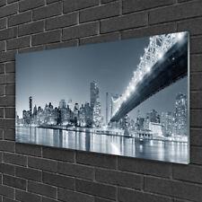 Glass print Wall art 100x50 Image Picture City Bridge Architecture