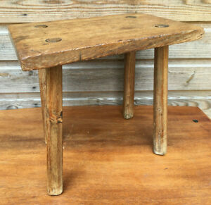 Antique Folk Art Handmade Rustic Elm & Pine Wooden 4 Legged Milking Stool Seat