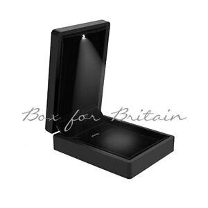 Led Pendant Box, Luxury Soft Touch Black Pendant Necklace Box with LED Light.