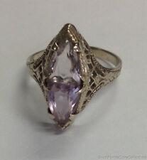 Estate Jewelry Ladies Amethyst Filigree Ring 14K White Gold Size 5
