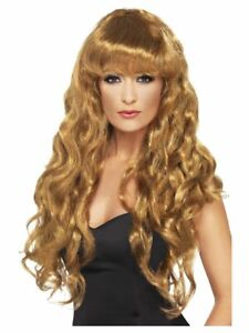 Smiffys Siren Wig - Long and Curly with Fringe - Brown