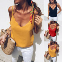 Women Summer V Neck Strappy Basic Tee Casual Loose Cami Vest Tank Tops Blouse