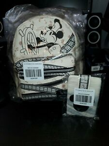 LOUNGEFLY DISNEY MICKEY MOUSE STEAMBOAT WILLIE MINI BACKPACK AND CARD WALLET NWT