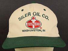 Siler Oil Company Amoco Washington Indiana Green Bill Off White Baseball Hat Cap