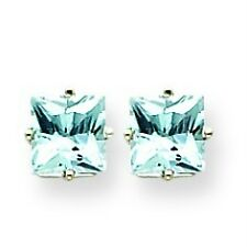 14K White Gold Princess Cut Aquamarine Pisces Birthstone Prong Set Post Earrings