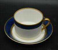 Fitz & Floyd Renaissance Cobalt Blue & Gold Flat Cup & Saucer Set