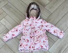Ted Baker Coat Age 3-4 Girls Pink Hooded Padded Deer Print
