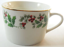 Gibson Christmas Holiday Gold Flat Cup Holly Leaves Berries Gold Trim