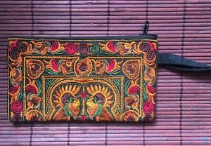 Orange & Red Fairtrade beautifully embroidered make up bag