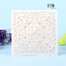 12pcs White Laser Wedding Invitation Cards With Custom Personalized Printing