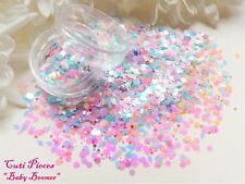 Nail Art *Baby Boomer* Pastel Pink Blue Hex Diamond Holographic Mix Glitter Pot
