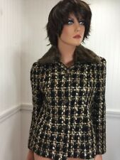 Talbots Black Brown Jacket Size 2 Wool Blend Button Front Faux Fur Collar Plaid