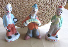 Vintage Set of 3 Clown Figurines Orange Yellow Blue Hats & Matching Clothes