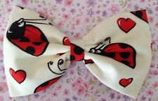 """NEW 5"""" IVORY CUTE RED LADYBIRD NOVELTY PRINT COTTON FABRIC RETRO BOW HAIR CLIP"""
