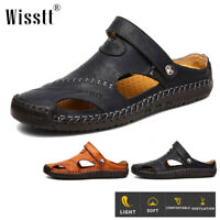 Men's Leather Casual Walking Shoes Summer Sandals Breathable Closed Toe Slippers
