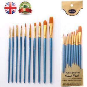 Artist Paint Brushes Set Professional Brush Wooden 10PC OIL ACRYLIC WATERCOLOUR