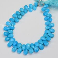 """Sleeping Beauty Turquoise Faceted Pear Briolettes 8"""" Strand"""