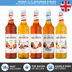 Monin 1L Syrups for Coffee & Cocktails |Used by Costa| Syrups for Christmas