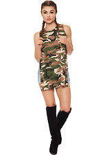 Womens Sleeveless Camouflage Side Slit Army Print Crew neck Long Shirt Vest Top