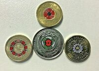 2019 - 2018 Anzacs, Wallabies $2 Two Dollar coins and NZ 0.50 Unc 5 coin set