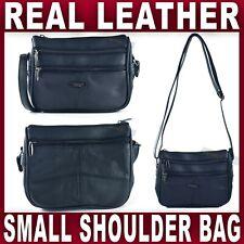 SMALL REAL LEATHER SHOULDER BAG NAVY handbag Cross Body Ladies Womens Women NEW