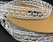15mm Sparkly Woven Mesh Design Metallic Christmas Ribbon Full Roll 10m Silver