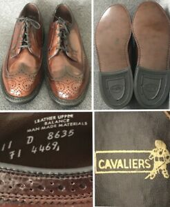 Vtg Mint! NOS Cavaliers Brown Leather Longwing Wingtip Oxford Brogue Shoes 11D