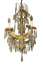 Antique Petite Russian or Swedish Gilt Metal Chandelier