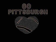 Pittsburgh Steelers Football Heart Rhinestone Iron on Transfer             YC1T