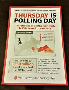 """Vote Leave """"THURSDAY IS POLLING DAY"""" Official Brexit Campaign A5 Leaflet"""