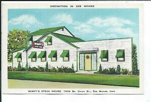 Des Moines IA Iowa Linen Postcard Roadside Wimpy's Steak House Restaurant