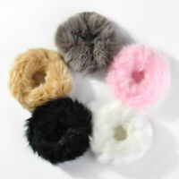 2019 Women Girls Fluffy Faux Fur Furry Scrunchie Elastic Hair Ring Rope Band Dr