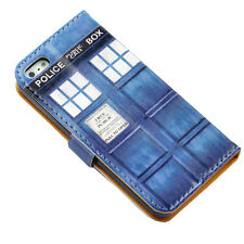 Doctor Who Tardis Police Box Blue Leather Wallet Flip Case Cover For Iphone 5 5S