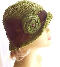 New NWT Vintage Style Cloche Hat Satin Velvet Feathers Cotton 20s Brown Olive