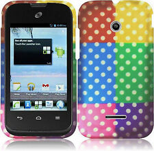 Huawei Prism II U8686 Rubberized HARD Protector Case Phone Cover Colorful Dots