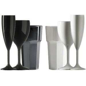 Set of Black & White Champagne(6.6oz) ,Wine (11oz) & Tumblers (12oz)