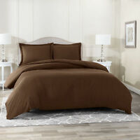 Duvet Cover Set Soft Brushed Comforter Cover W/Pillow Sham, Chocolate - Twin
